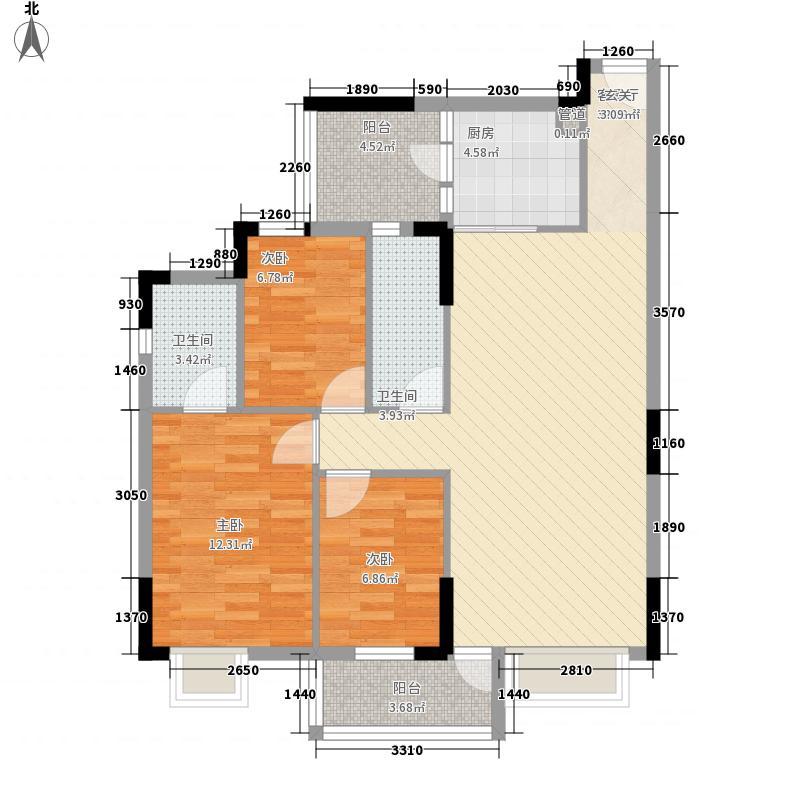 蓝色海岸111.00㎡A座二-二十六层02户型3室2厅2卫