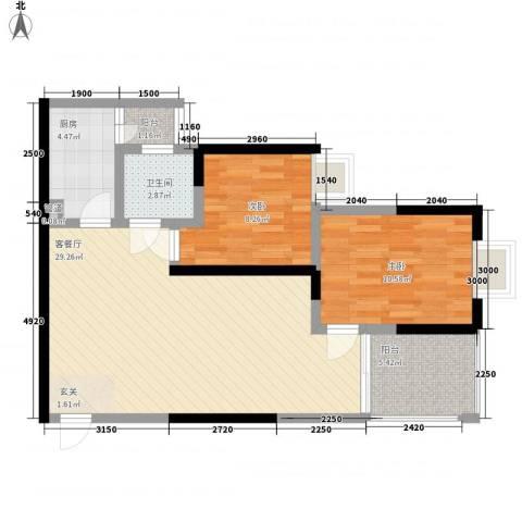 永年高九领地2室1厅1卫1厨68.00㎡户型图