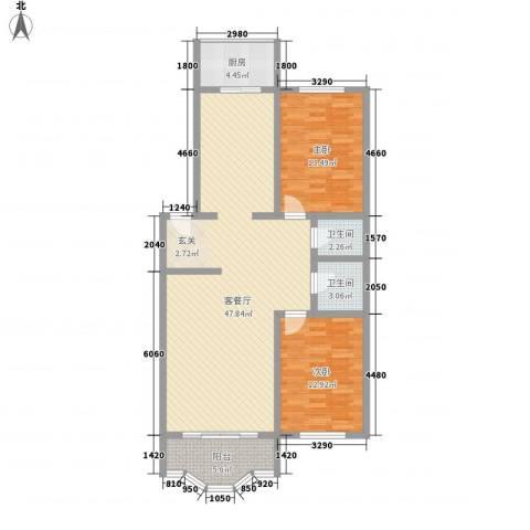锦江花园2室1厅2卫1厨128.00㎡户型图