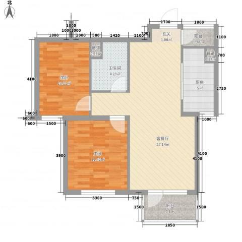 测绘局宿舍2室1厅1卫1厨90.00㎡户型图