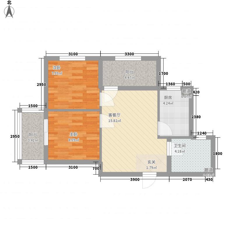 新希望乐城2室1厅1卫1厨67.00㎡户型图