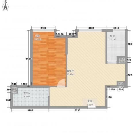 盛世国公馆1室1厅1卫1厨91.00㎡户型图