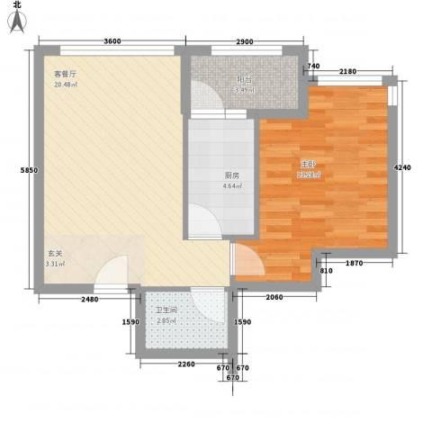 罗马花园1室1厅1卫1厨64.00㎡户型图