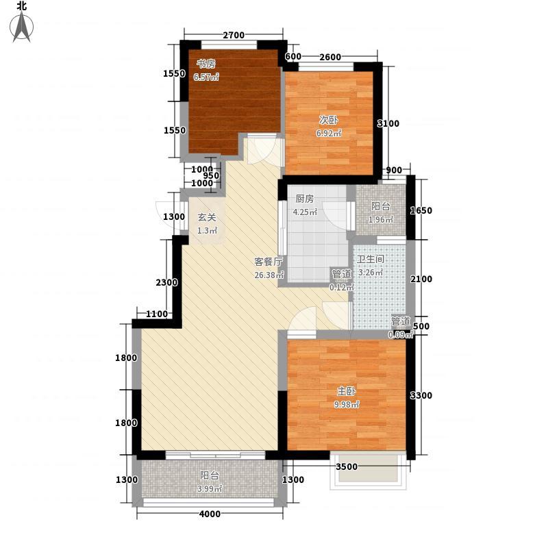 天地湾3室1厅1卫1厨63.51㎡户型图