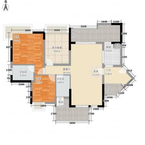 金山家园2室1厅2卫1厨140.00㎡户型图