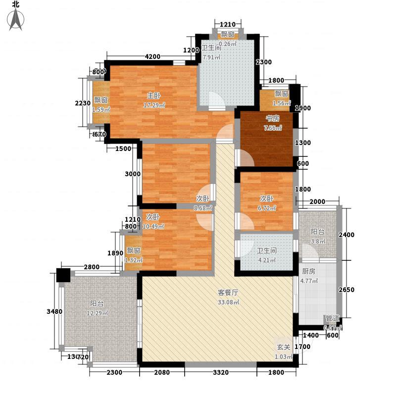 龙城1号122.00㎡二期天籁组团偶数层H4、H5户型5室2厅2卫1厨