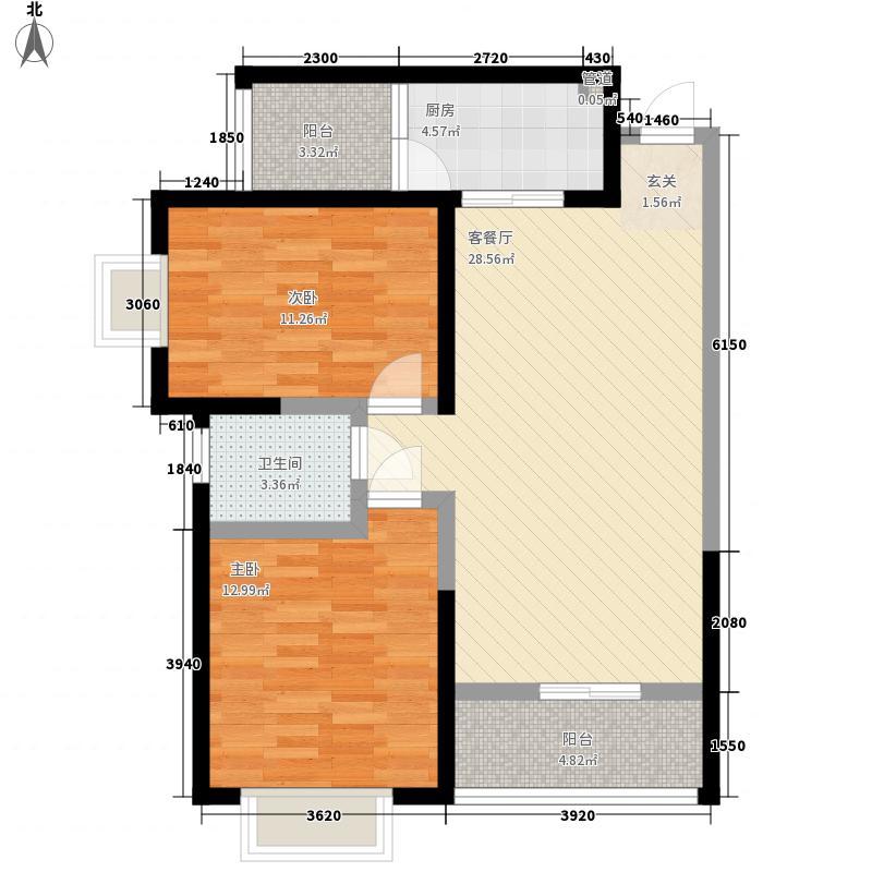 弘顺居F户型:两房两厅一卫,98.73平米_调整大小户型2室2厅1卫1厨