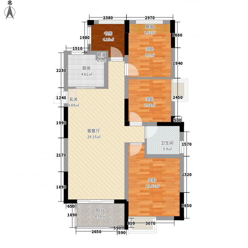 时代广场二期110.00㎡A户型4室2厅1卫1厨