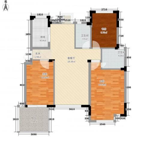 苹果园・幸福城3室1厅2卫1厨123.00㎡户型图