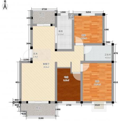 苹果园・幸福城3室1厅1卫1厨113.00㎡户型图