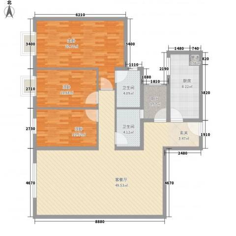 鹭江海景花园二期3室1厅2卫1厨156.00㎡户型图