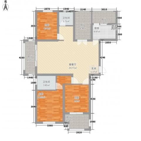 晟地润园3室1厅2卫1厨141.00㎡户型图
