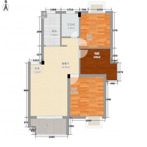 苹果园・幸福城3室1厅1卫1厨89.00㎡户型图