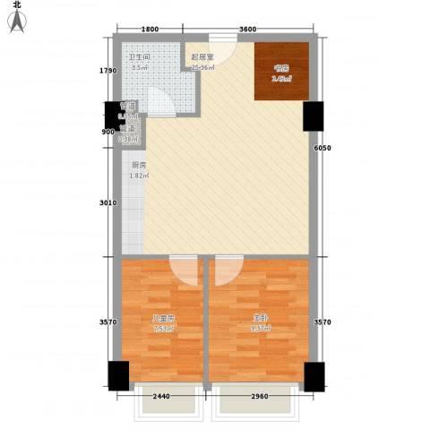 华业玫瑰东方Ⅱ期2室0厅1卫0厨46.19㎡户型图