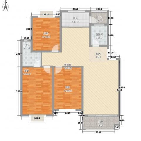 海德公园别墅3室1厅2卫1厨154.00㎡户型图