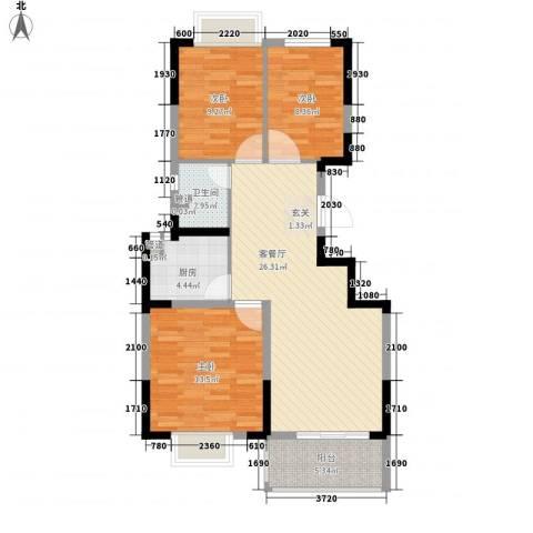 苹果园・幸福城3室1厅1卫1厨100.00㎡户型图