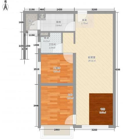 华业玫瑰东方Ⅱ期2室0厅1卫1厨51.45㎡户型图