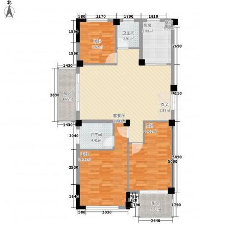 东方不夜城3室1厅2卫1厨98.40㎡户型图