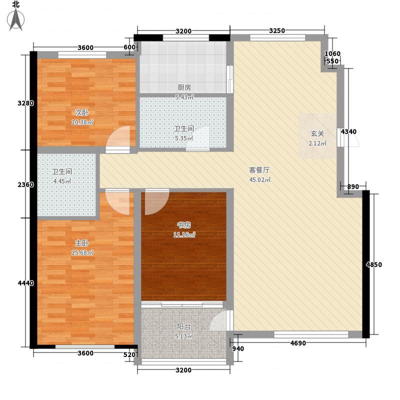 家园小时代128.26㎡G户型3室2厅2卫1厨