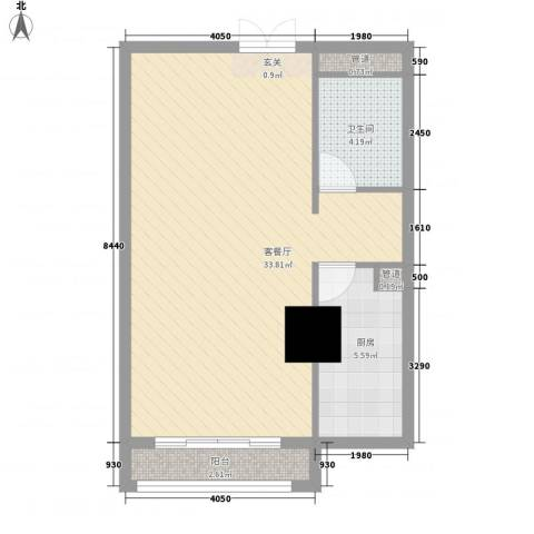 一中官邸1厅1卫1厨68.00㎡户型图