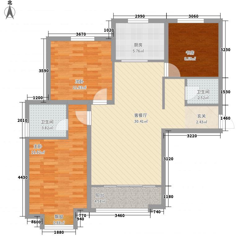 家园小时代128.50㎡D户型3室2厅2卫1厨
