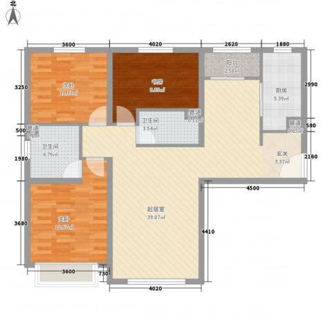 华业玫瑰东方Ⅱ期3室0厅2卫1厨128.00㎡户型图