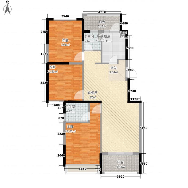 半岛华府3室1厅2卫1厨146.00㎡户型图
