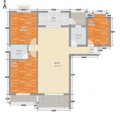 金鼎国际广场3室1厅2卫1厨132.00㎡户型图