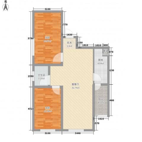 悦西湖・泊悦2室1厅1卫1厨84.00㎡户型图
