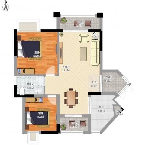 东林美域2室1厅1卫1厨96.00㎡户型图