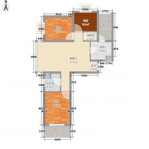 恒阳花苑海上花3室1厅1卫1厨106.00㎡户型图