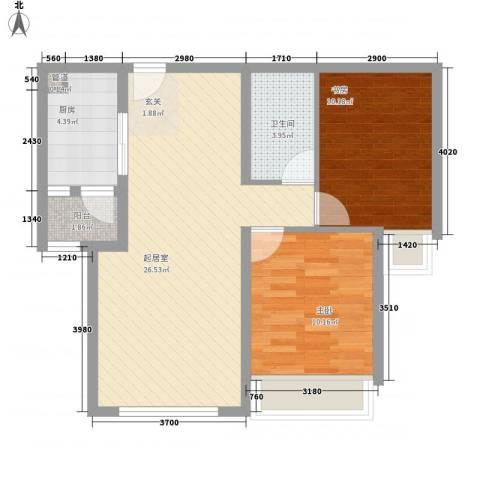 华业玫瑰东方Ⅱ期2室0厅1卫1厨57.22㎡户型图