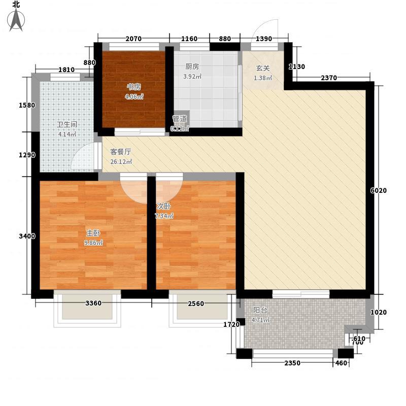 锦艺金水湾3室1厅1卫1厨89.00㎡户型图