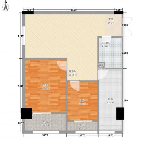 一中官邸2室1厅1卫1厨69.57㎡户型图