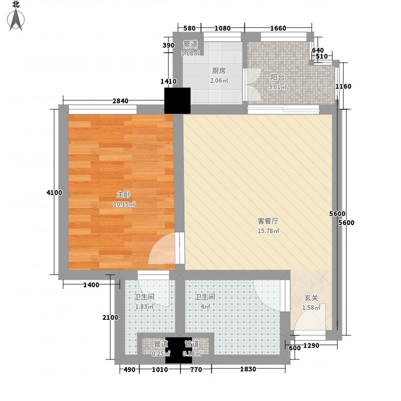 黄杨・明月轩1室1厅2卫1厨56.00㎡户型图