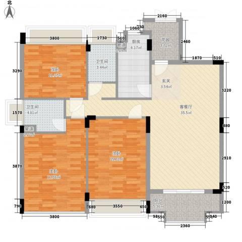 瀛寰度假公馆3室1厅2卫1厨127.00㎡户型图