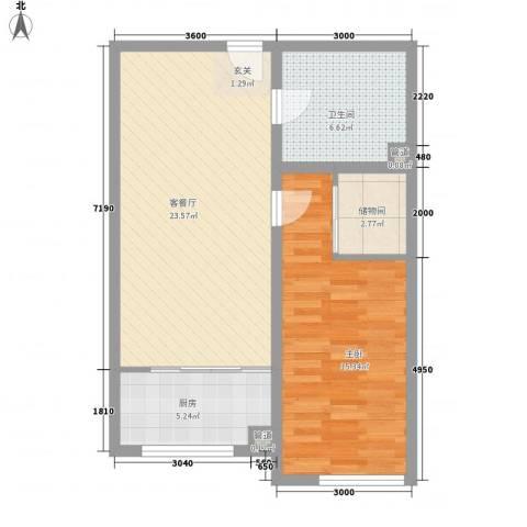四环花园1室1厅1卫1厨77.00㎡户型图