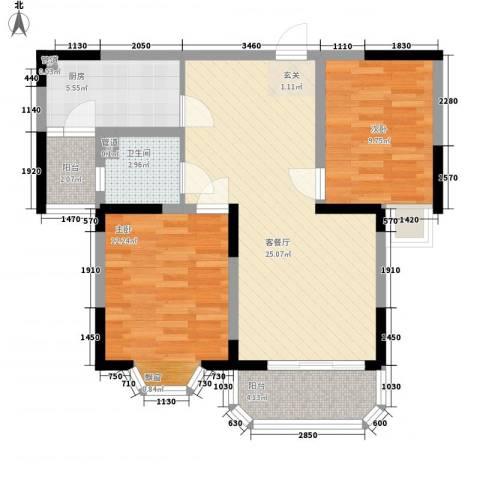 城市枫景2室1厅1卫1厨90.00㎡户型图