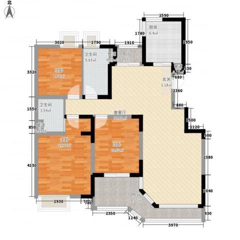 景鸿苑3室1厅2卫1厨140.00㎡户型图
