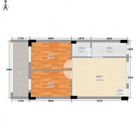 西荣花园2室1厅1卫1厨64.00㎡户型图