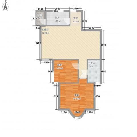 帝景苑2室1厅1卫1厨90.00㎡户型图