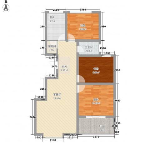 时代中通首府3室1厅1卫1厨75.61㎡户型图
