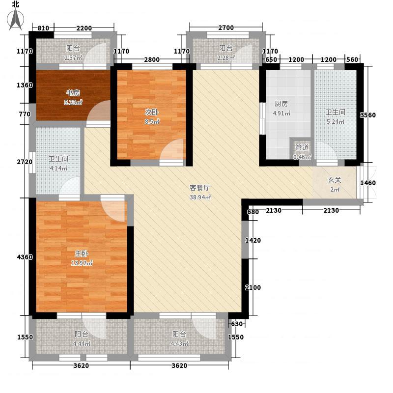 江南花园3室1厅2卫1厨140.00㎡户型图