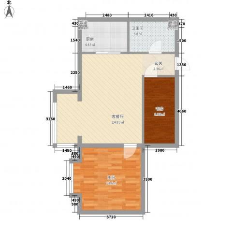 舟泉小区2室1厅1卫1厨78.00㎡户型图
