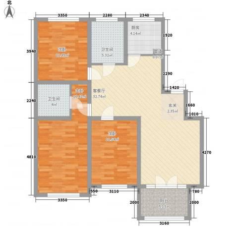 雅阁花园3室1厅2卫1厨90.86㎡户型图