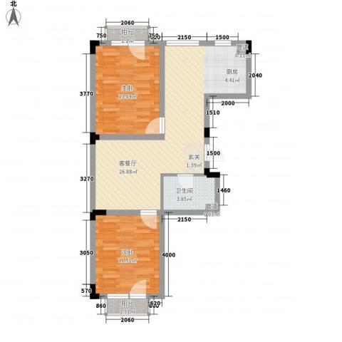 亿洲百旺郦城2室1厅1卫0厨75.00㎡户型图