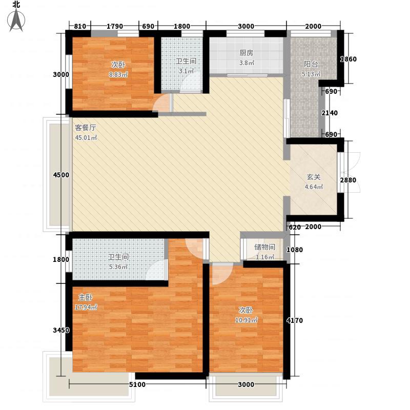 保利西海岸14.80㎡1、3#楼A1户型3室2厅2卫1厨