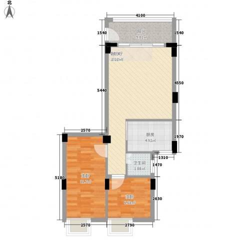 西荣花园2室1厅1卫1厨62.00㎡户型图
