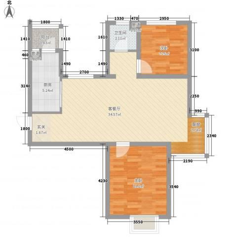 天房彩郡二期2室1厅1卫1厨64.86㎡户型图