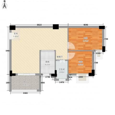 西荣花园2室1厅1卫1厨69.00㎡户型图